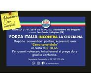 FORZA ITALIA INCONTRA LA CIOCIARIA. GIOVEDI 21 NOVEMBRE 2019 ORE 18,00 PRESSO IL RISTORANTE DA PEPPINO LOC.SAN SOSIO, ARPINO.